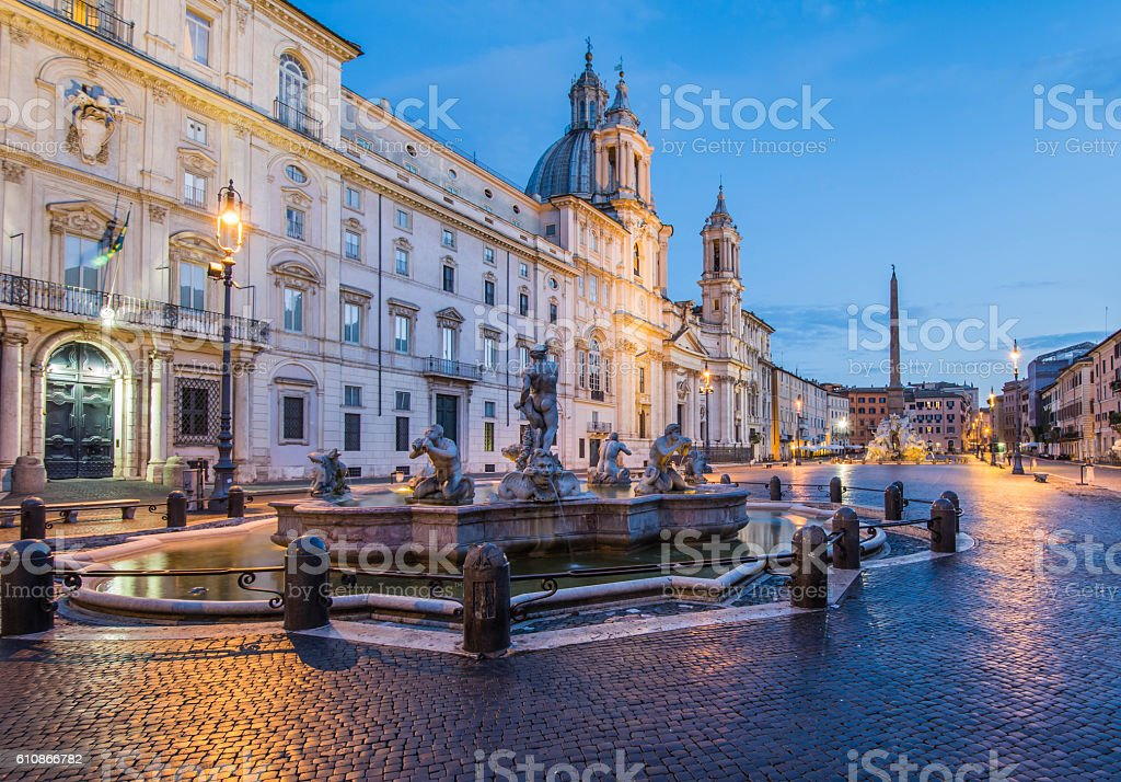 Piazza Navona by night, Rome, Italy stock photo