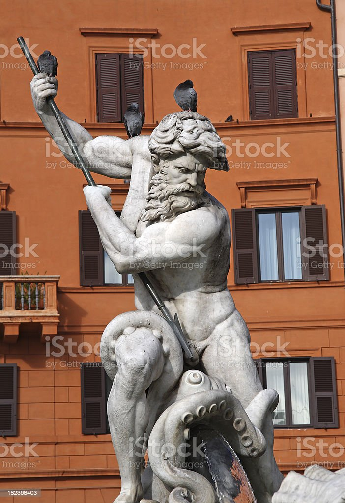 Piazza Navona, Fontana del Moro stock photo