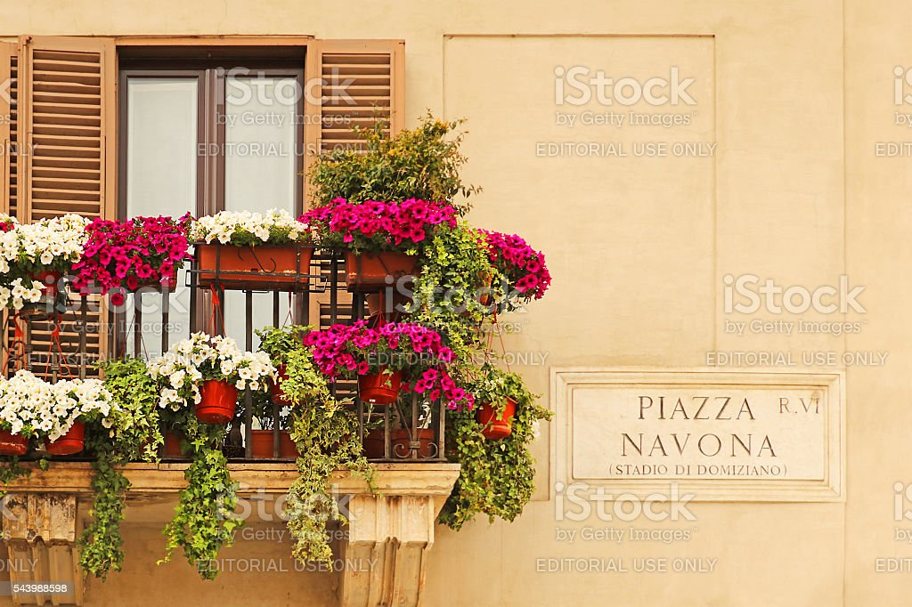 Piazza Navona Sign and Flowers on a Balcony stock photo