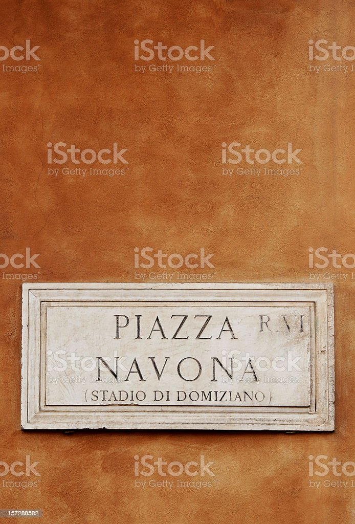 Piazza Navona street sign in Rome, Italy royalty-free stock photo
