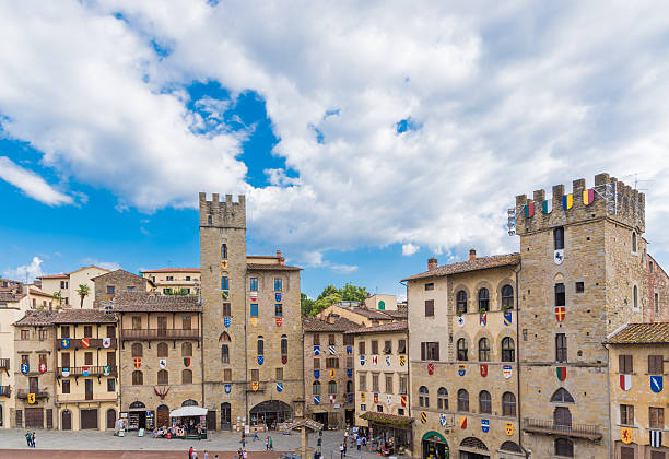 Piazza of Arezzo The square in the old town of Arezzo arezzo stock pictures, royalty-free photos & images