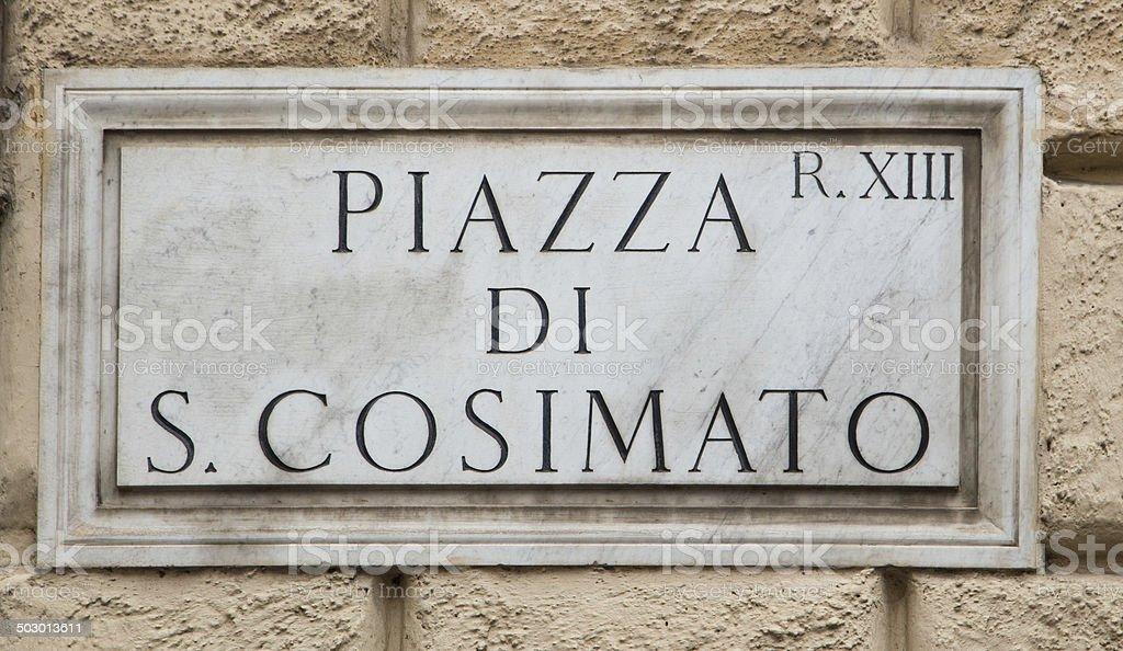 Piazza S. Cosimato stock photo
