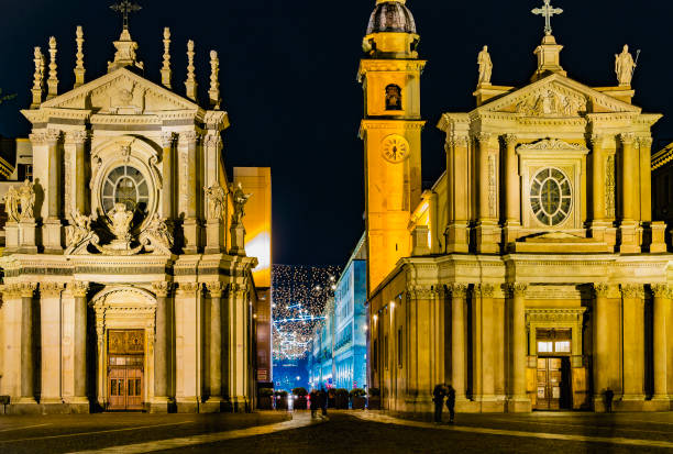 Piazza San Carlo and Via Roma with Luci d'Artista (Turin, Piedmont, Italy) stock photo