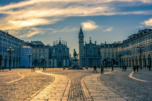 Piazza San Carlo, Turin, Italy stock photo