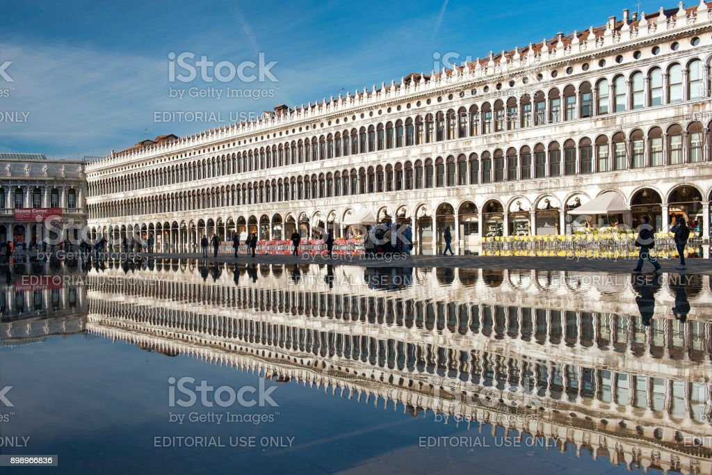 Piazza San Marco during a flood ( acqua alta ) in Venice, Italy stock photo