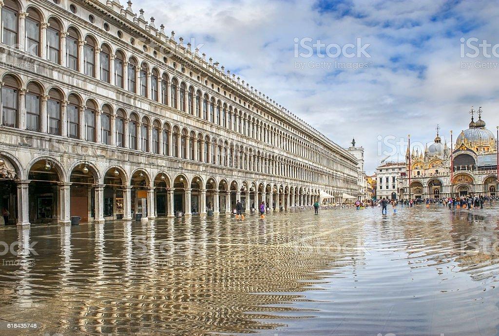Piazza San Marco during flood (acqua alta) stock photo