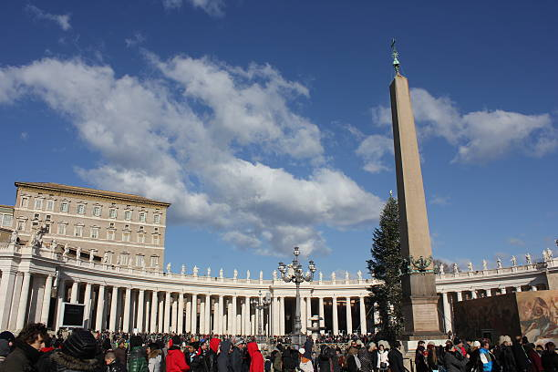 Piazza San Pietro in Rome, with its obelisk stock photo