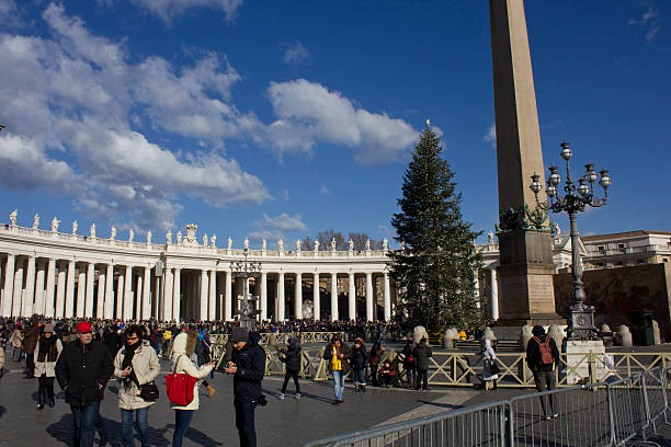 Piazza San Pietro in Rome, with people around stock photo