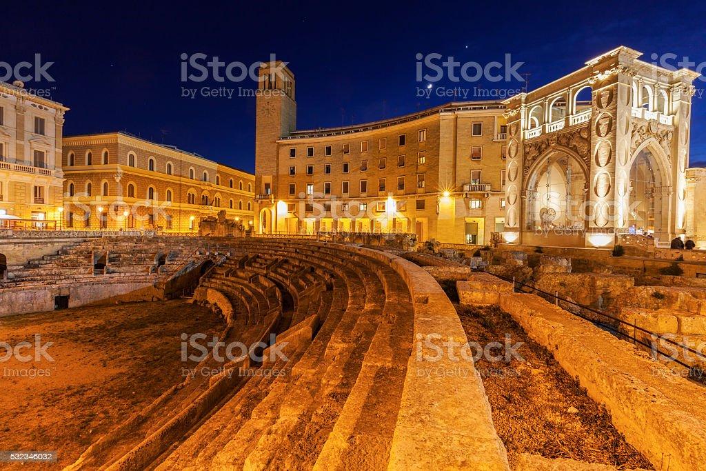 Piazza Santo Oronzo and Anfiteatro Romano in Lecce stock photo