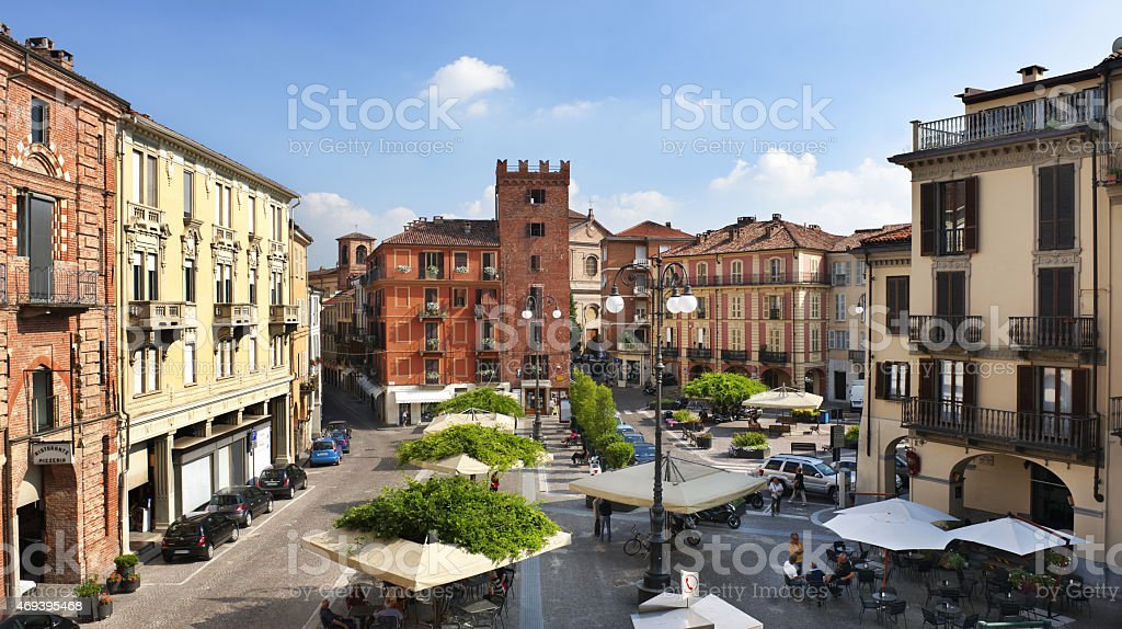 Piazza Statuto, Asti, Torre Guttuari on background, sunny day royalty-free stock photo
