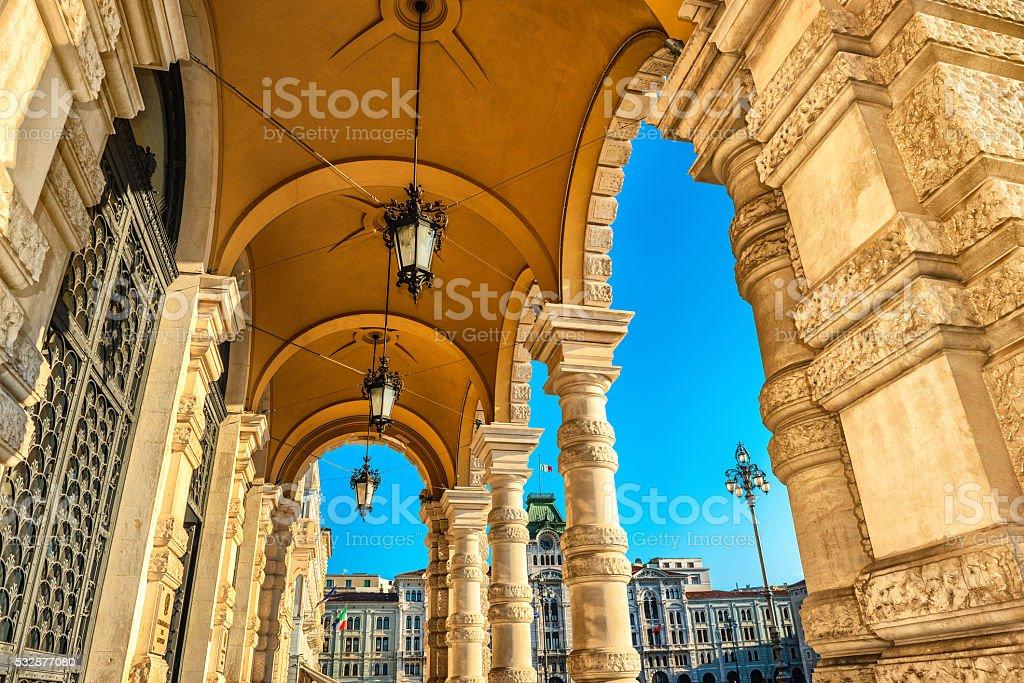 Piazza Unita d'Italia in Trieste, Italy stock photo