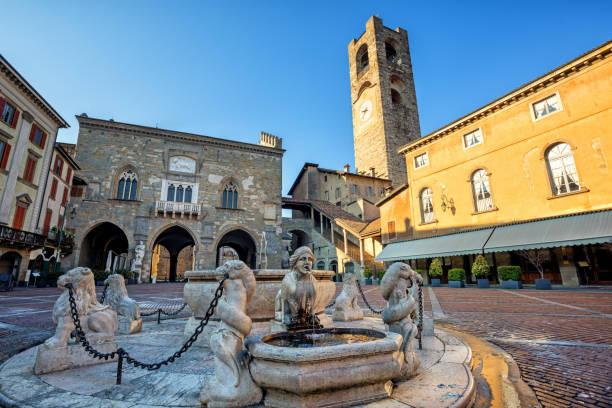 Piazza Vecchia in Bergamo Old town, Italy stock photo