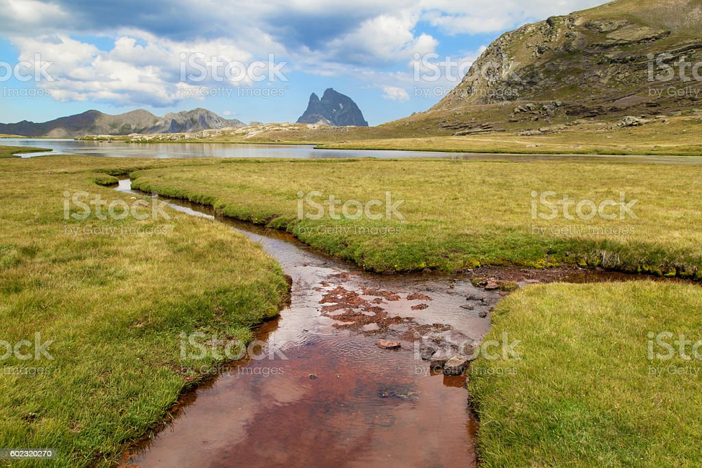 Pic du Midi d Ossau from the Anayet Plateau stock photo