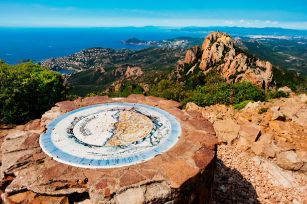 Pic Roux summit, Provence, France View south west from the Table d'Orientation on the summit of Pic Roux on the Esterel coast of Provence, France. var stock pictures, royalty-free photos & images