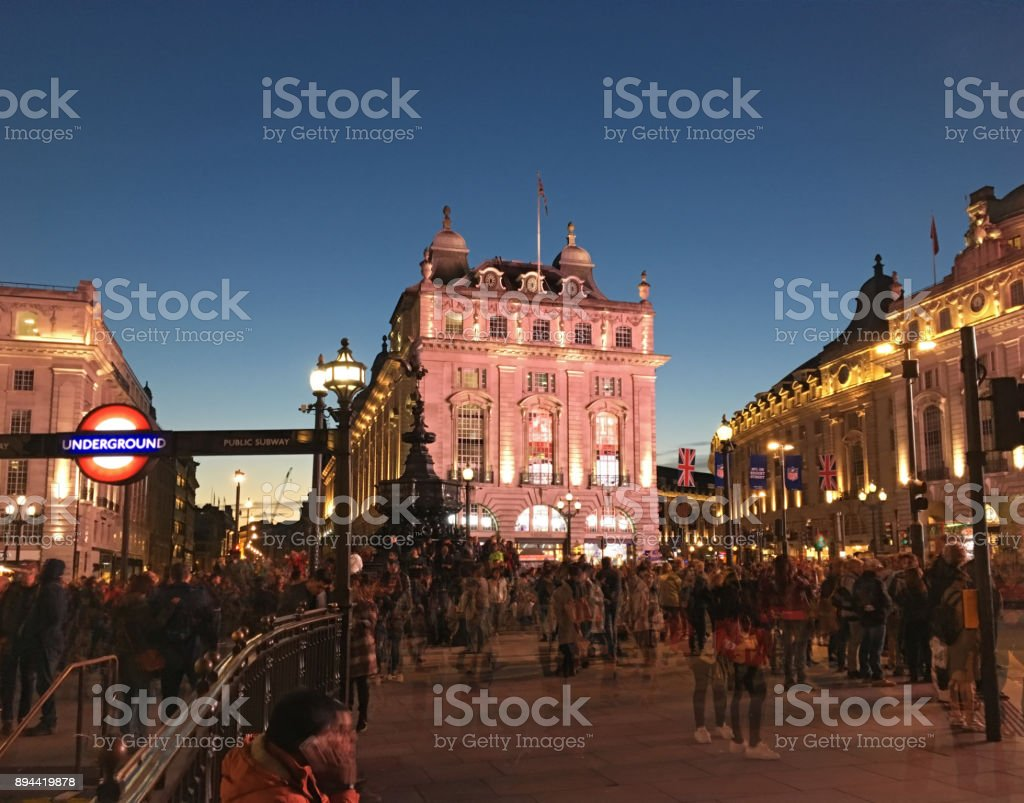 Picadilly Circus, London in dusk, multiple exposure stock photo