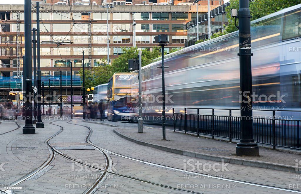 Piccadilly central bus station, Manchester stock photo