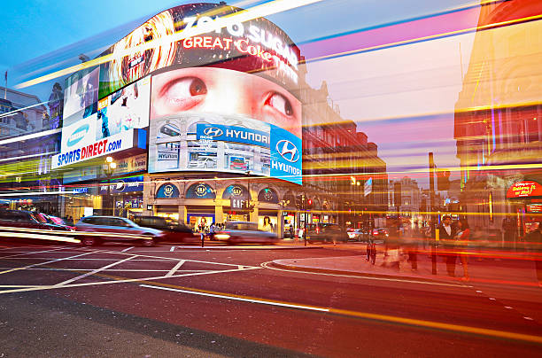 Piccadilly Circus at dusk stock photo