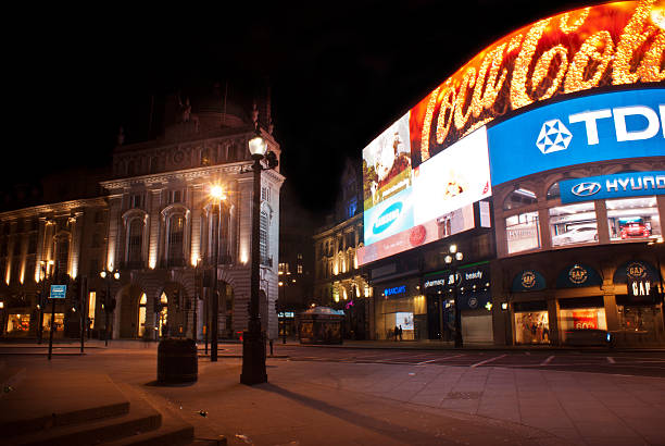 piccadilly circus, Londra di notte - foto stock