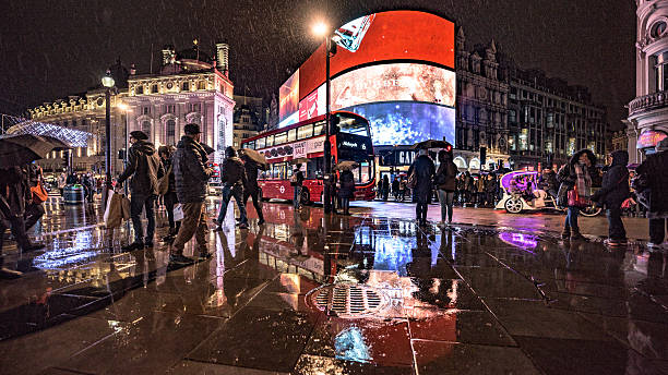 Piccadilly Circus in the rain stock photo