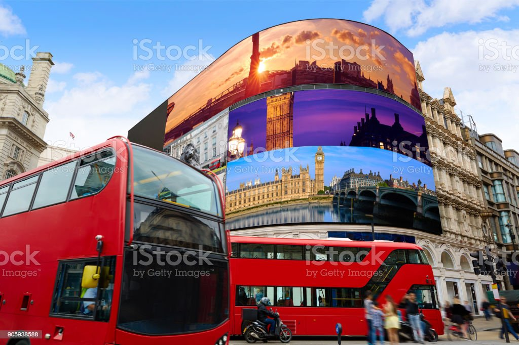 Piccadilly Circus London digital photomount stock photo