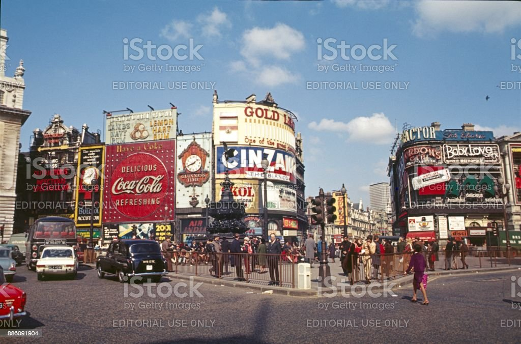 Piccadilly Circus, Panorama, 1968 - foto de stock