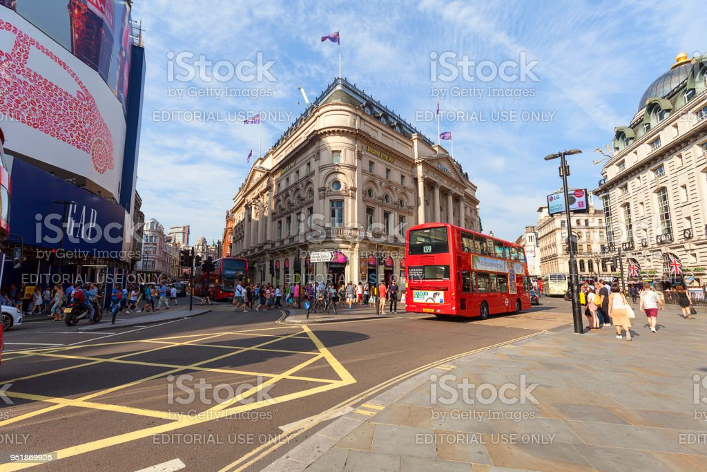 Piccadilly Circus, red double-decker bus, City of Westminster, London, United Kingdom stock photo