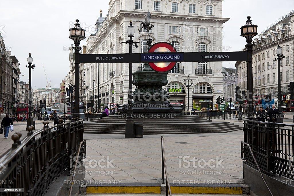Piccadilly Circus Underground Subway Entrance Sign, London, England, UK stock photo