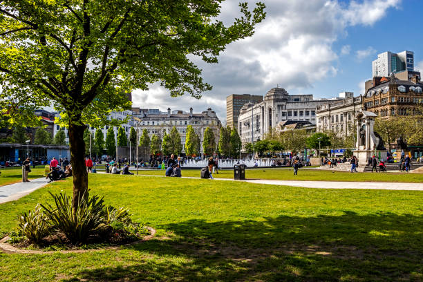 Piccadilly Gardens Manchester stock photo