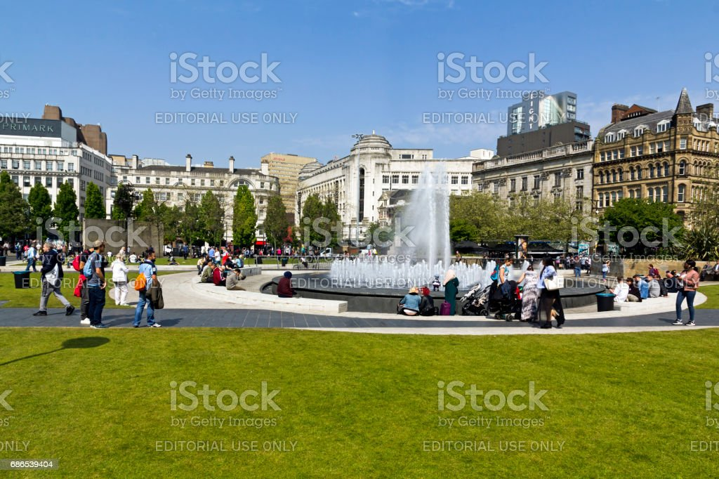 Piccadilly Gardens Manchester zbiór zdjęć royalty-free