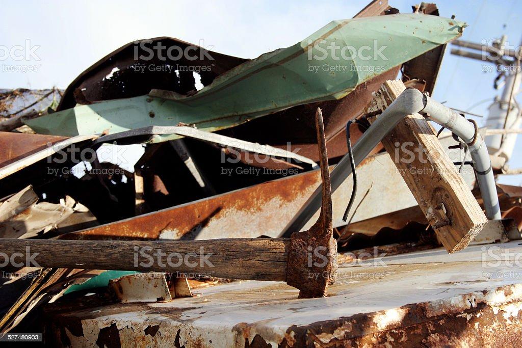 Pick Ax in Constructionm, Demolition Debris stock photo