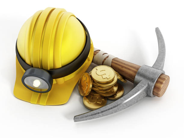 Pick axe, miner helmet and gold coins with money symbol isolated on white. Digital currency mining concept stock photo