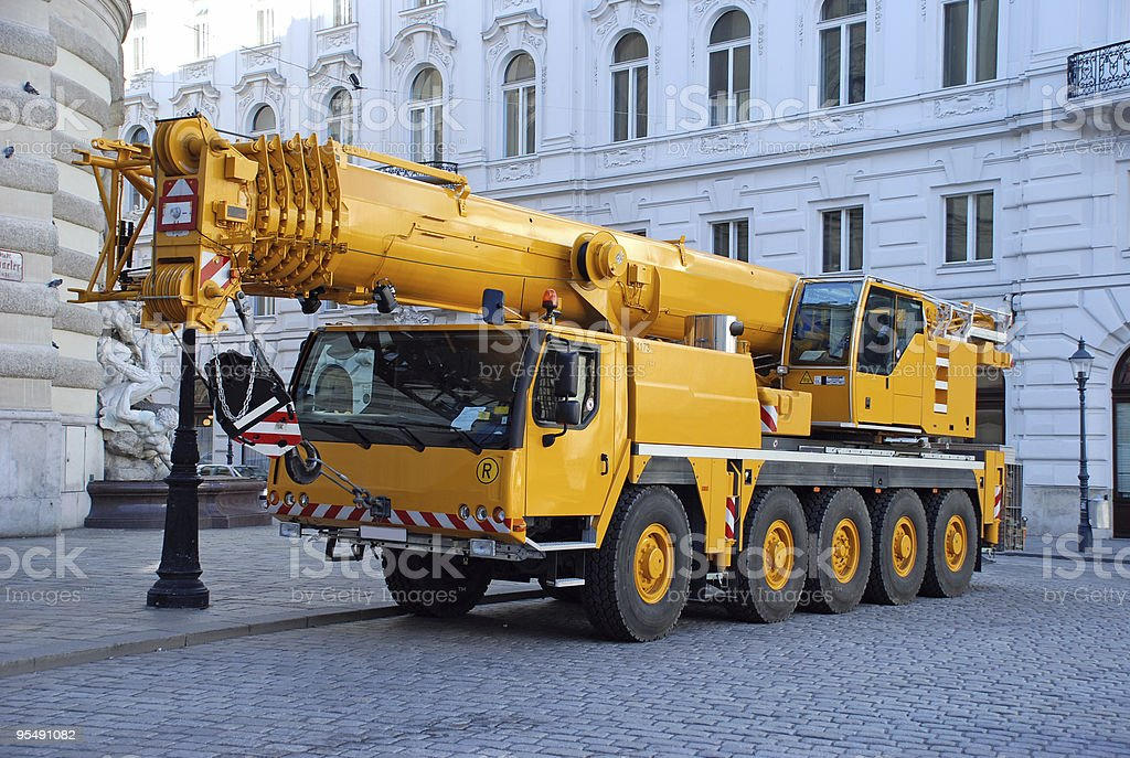 pick up and crane truck stock photo