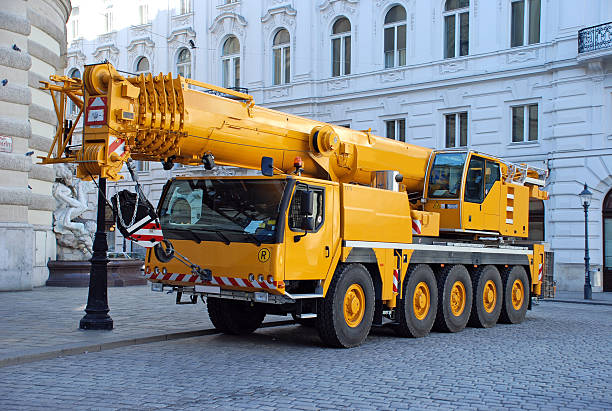 pick up and crane truck  mobile crane stock pictures, royalty-free photos & images