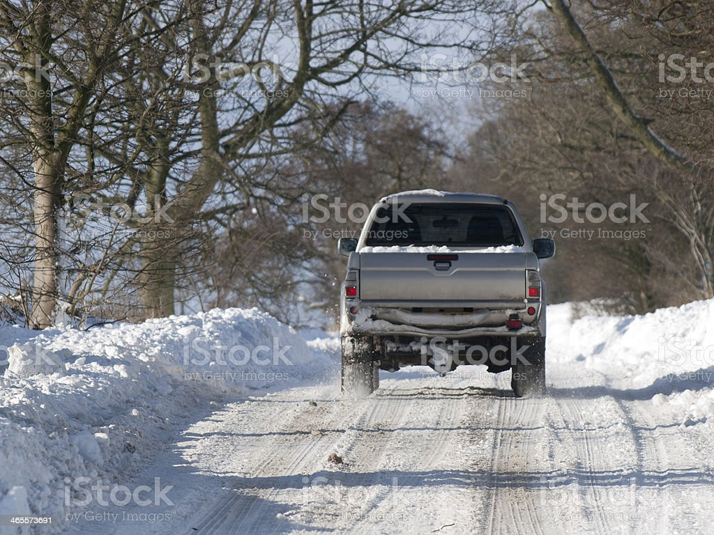 Pick up in the snow stock photo
