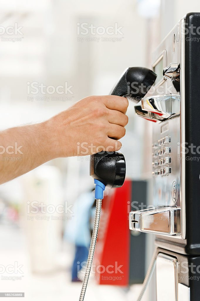 Pick up pay phone stock photo