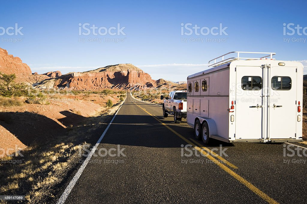 Pick up with horse transporter stock photo