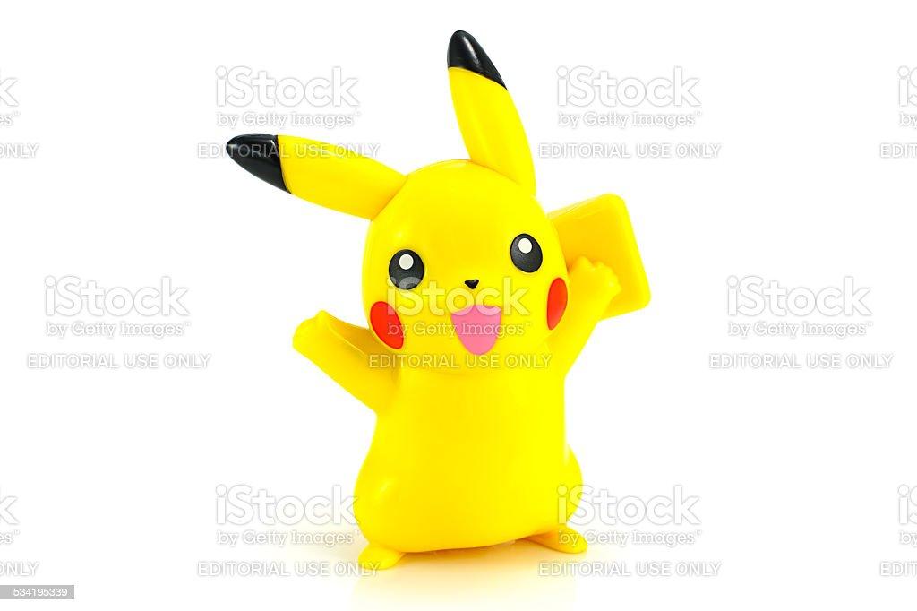 Pickachu toy character from Pokemon anime. stock photo