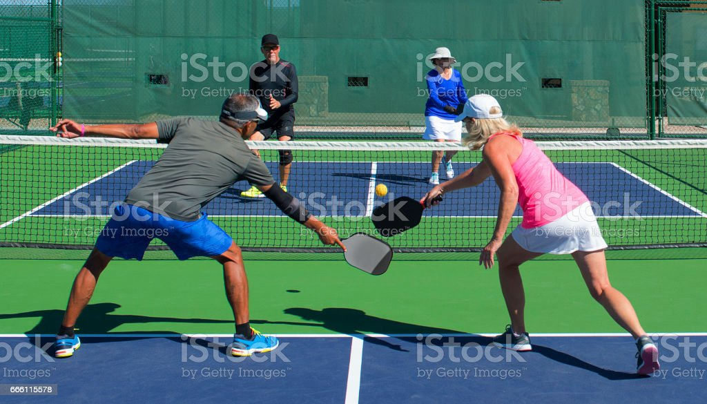 Pickeball - Mixed Doubles Play stock photo