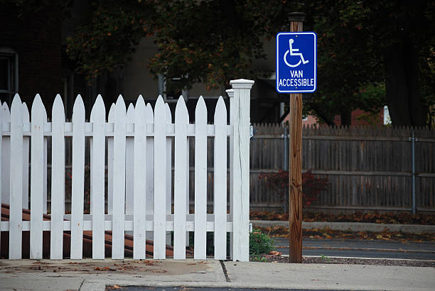 Picket Fence and Sign stock photo