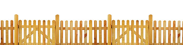 Picket fence, garden fence - isolated