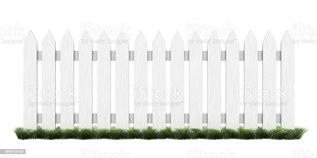 Picket Fence with grass stock photo