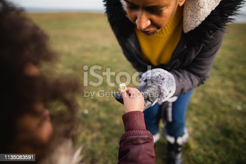 A young girl giving her grandmother a daisy she has picked in the grass outside.