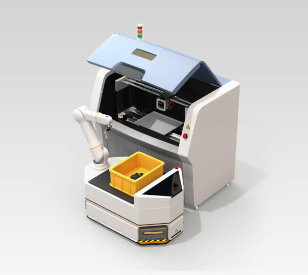 AGV Kommissionierung Maschinenteile aus Metall 3D-Drucker – Foto