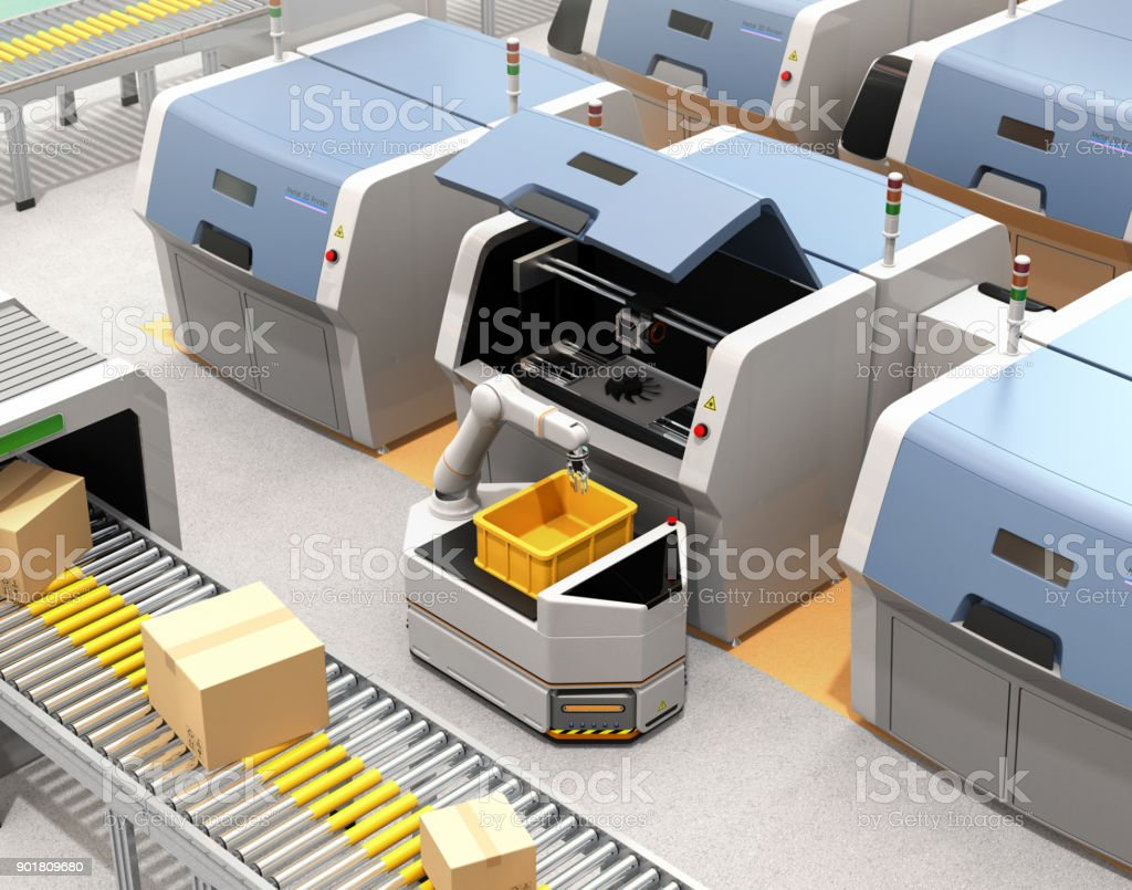 AGV picking parts from metal 3D printer stock photo
