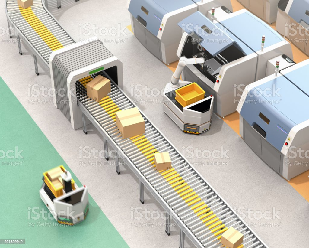 AGV Kommissionierung Teile aus Metall-3D-Drucker – Foto