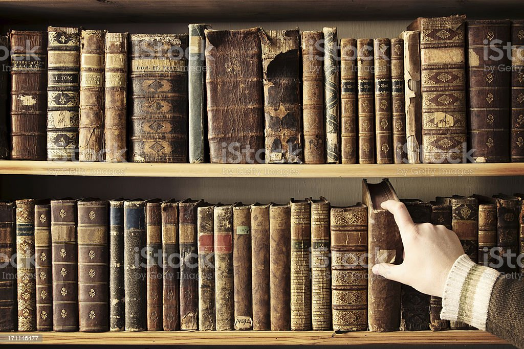 Picking the right book stock photo
