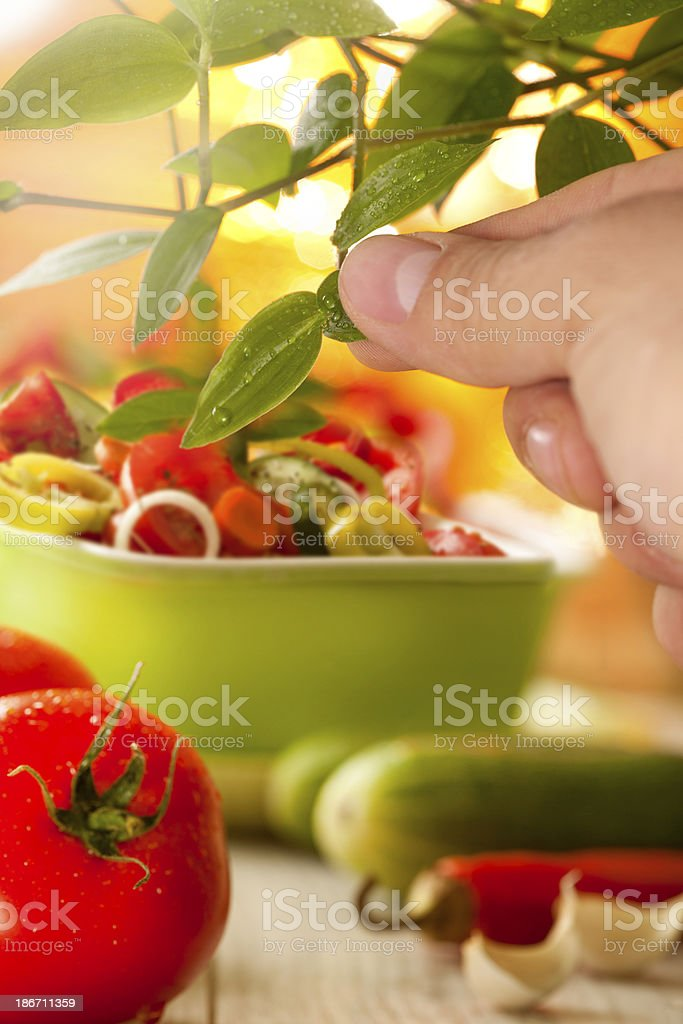 picking up some herb royalty-free stock photo
