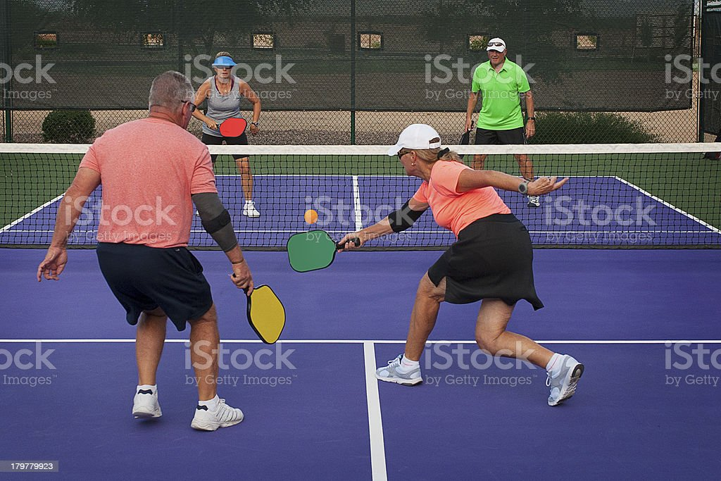 Pickleball Action - Mixed Doubles 1 stock photo