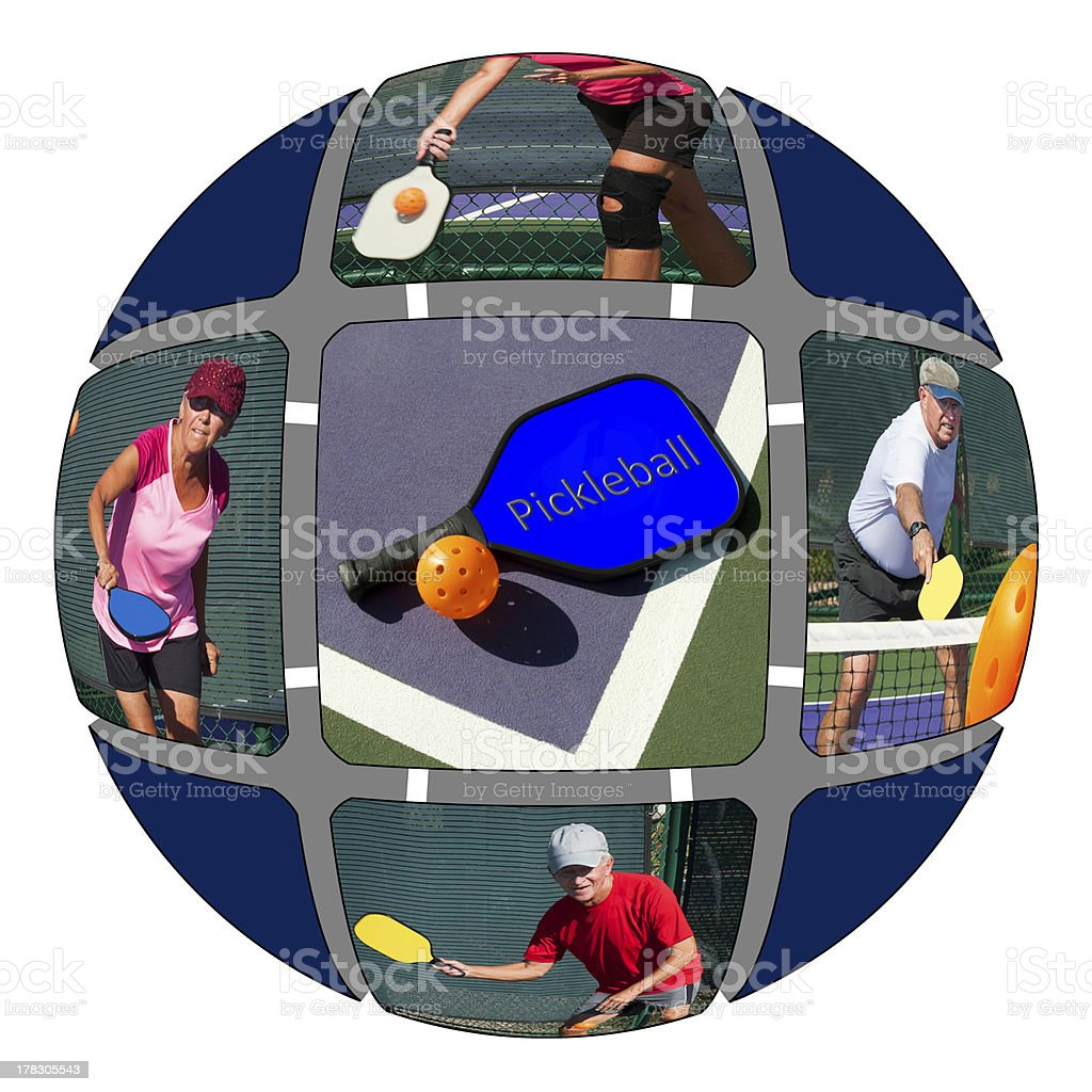Pickleball - Montage of Senior Players stock photo