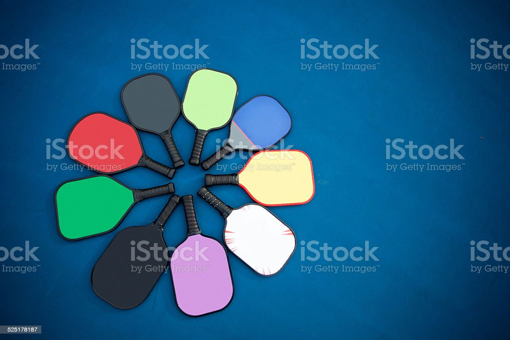 Pickleball paddles stock photo